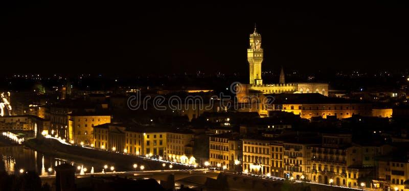 Firenze, vista di notte di Signoria di della di Palazzo fotografia stock libera da diritti