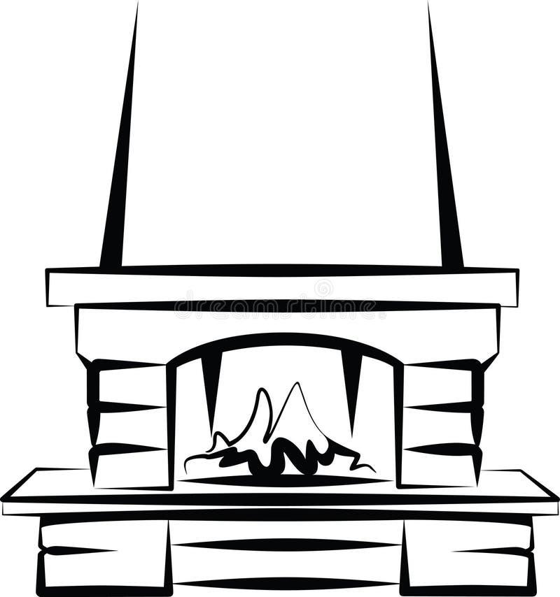 Fireplace. Simple illustration of a fireplace stock illustration