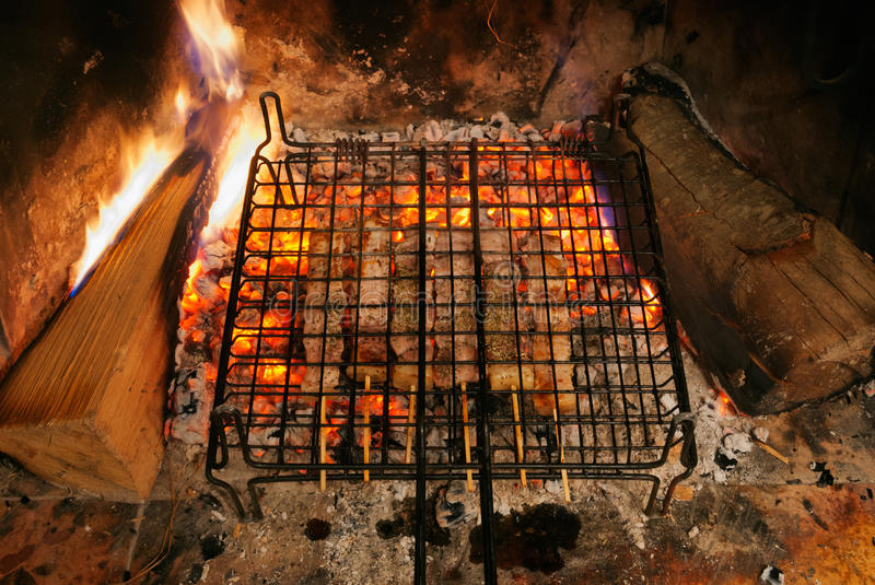 Download Fireplace barbecue stock photo. Image of skewer, grilled - 37648488