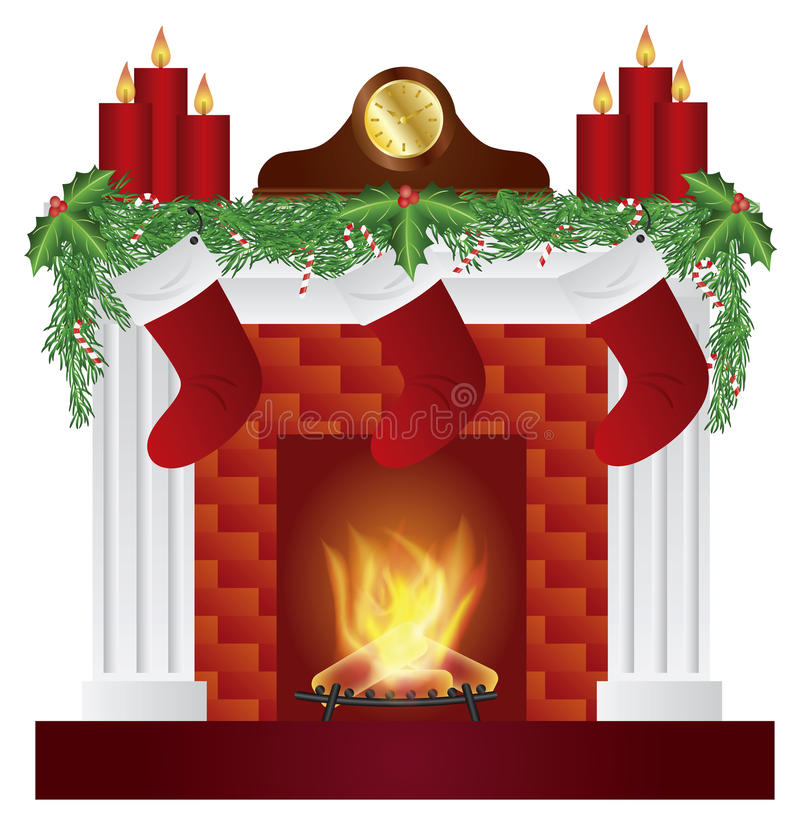 fireplace with christmas decoration illustration stock illustration image 35395772. Black Bedroom Furniture Sets. Home Design Ideas