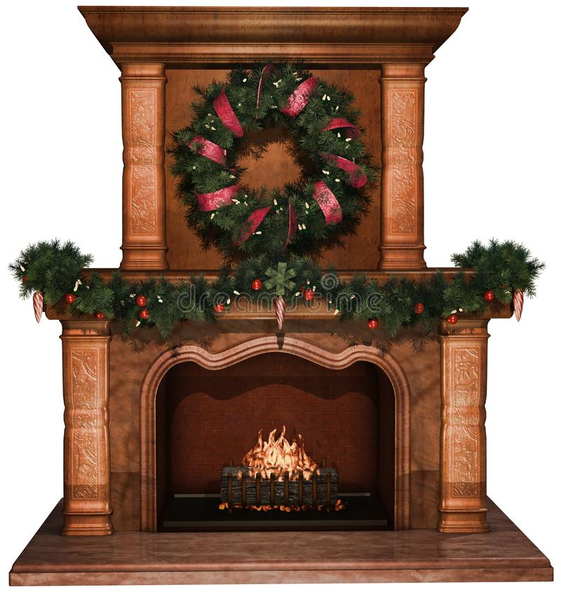 Fireplace with Christmas garlands and wreath royalty free illustration