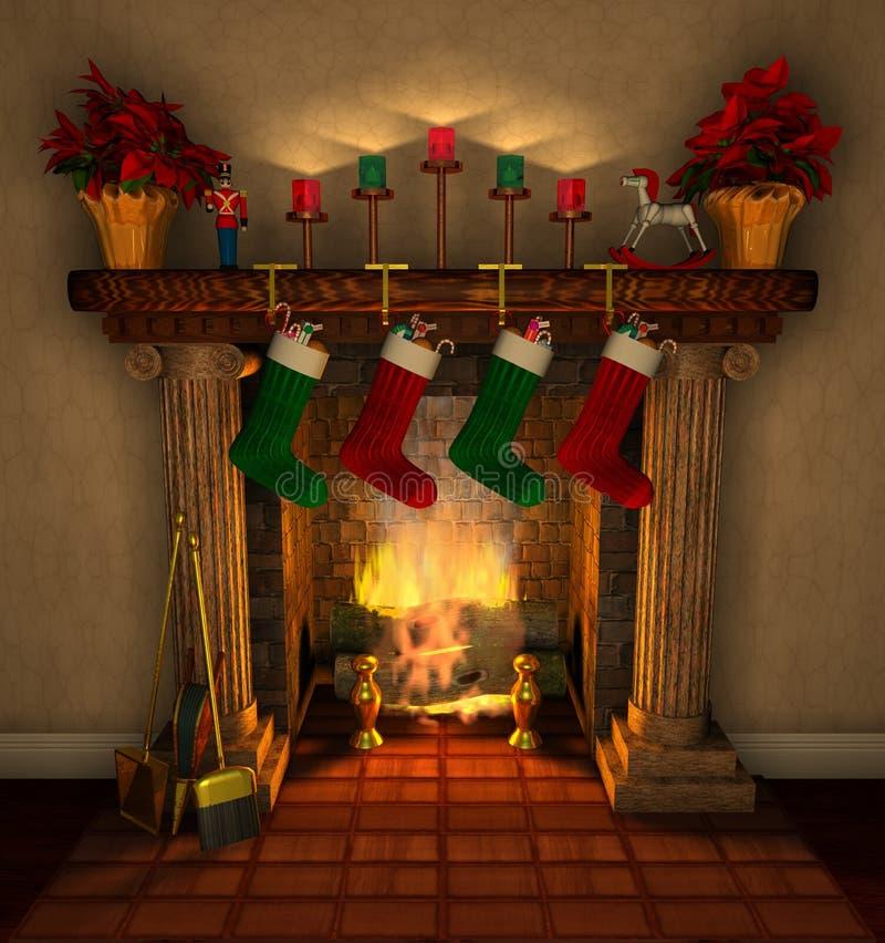 Fireplace_closeup stock illustratie