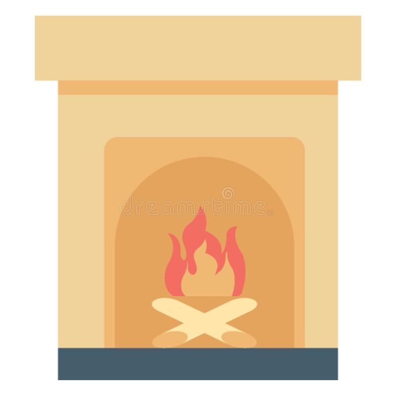 Fireplace Color Vector icon Easily modify or edit royalty free illustration