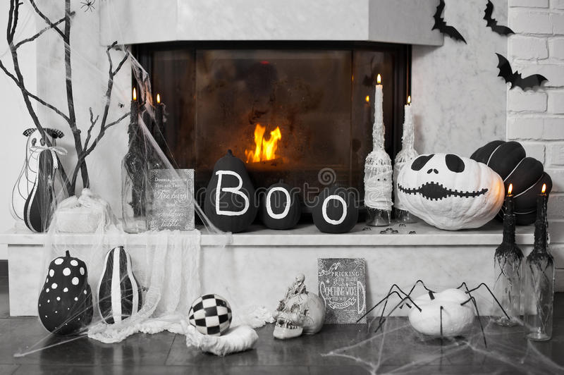 Fireplace decor. Ideas for Halloween stock photo