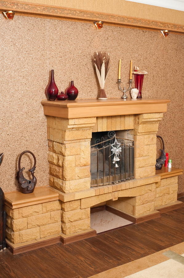 Download Fireplace In A Drawing Room. Stock Photo - Image: 14853008