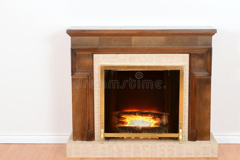 Fireplace with fake fire stock images