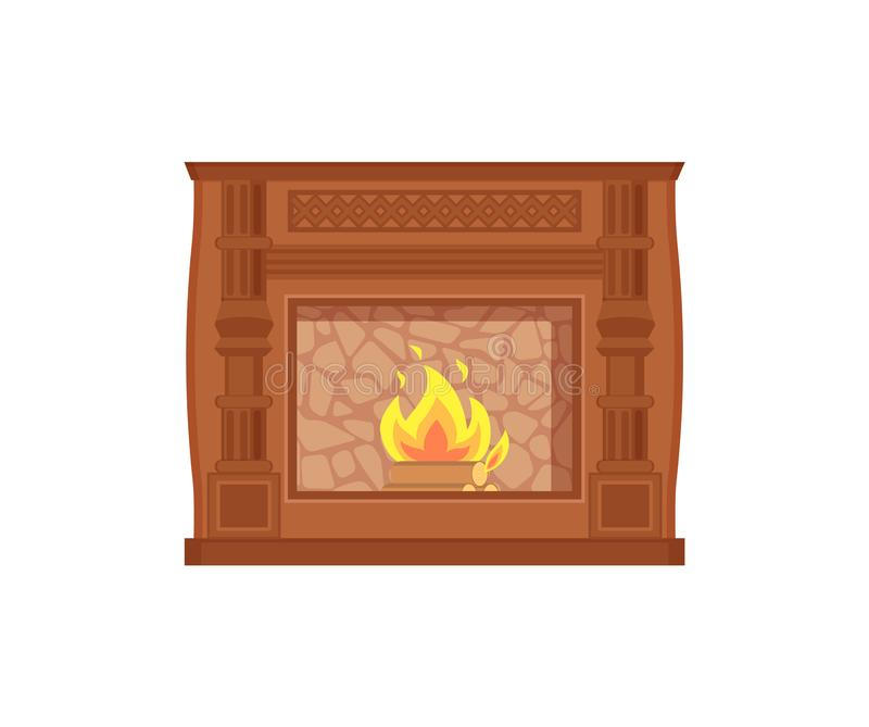 Fireplace with Fire Heating Decoration of Home stock illustration