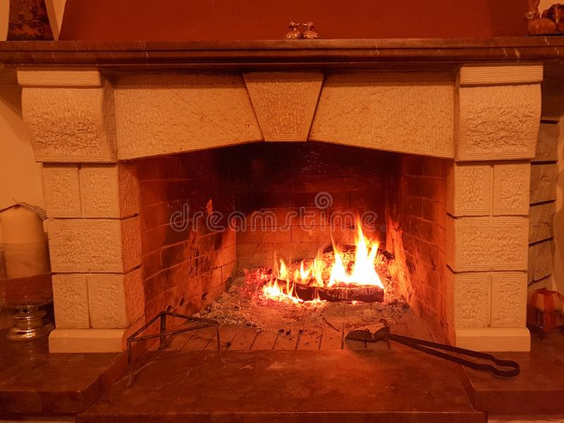 Fireplace fire rocks design marbles. Home stock images