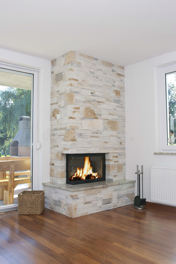 Fireplace home stock images
