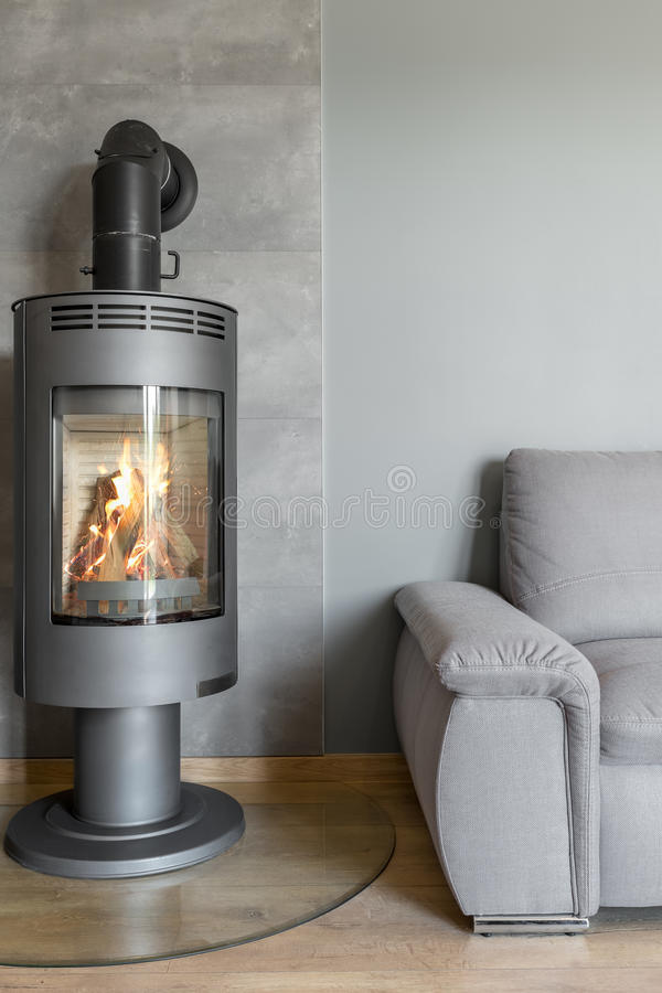 Fireplace in industrial style idea stock images