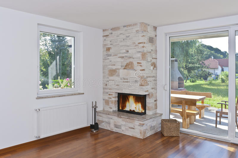 Fireplace in a living room stock images