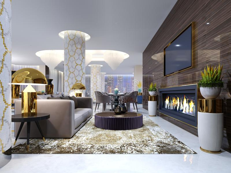 Fireplace lounge area in a luxury hotel with a soft sofa, armchairs and a coffee table. Wooden wall with built-in TV and fireplace vector illustration
