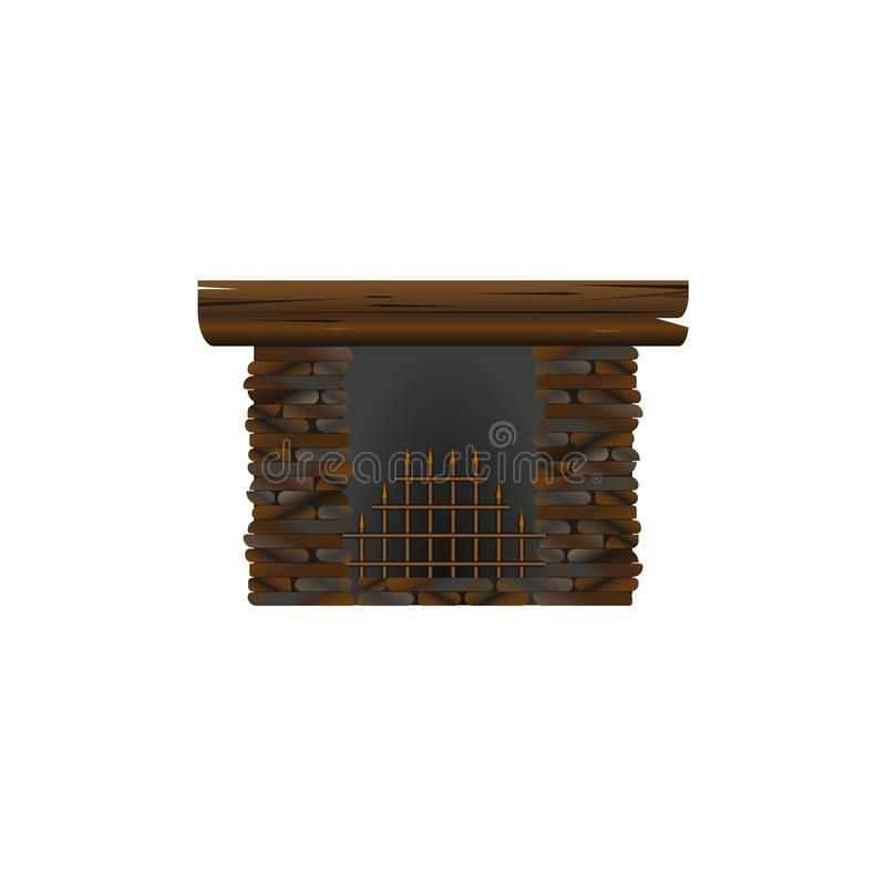 Fireplace made of stone for interior. nisolated on white background vector illustration