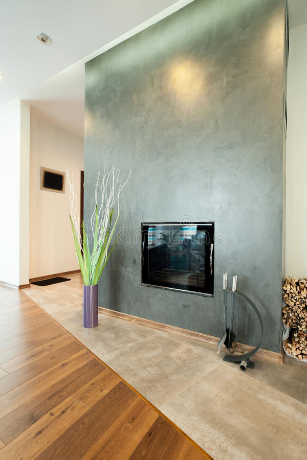 Fireplace in a modern house royalty free stock images