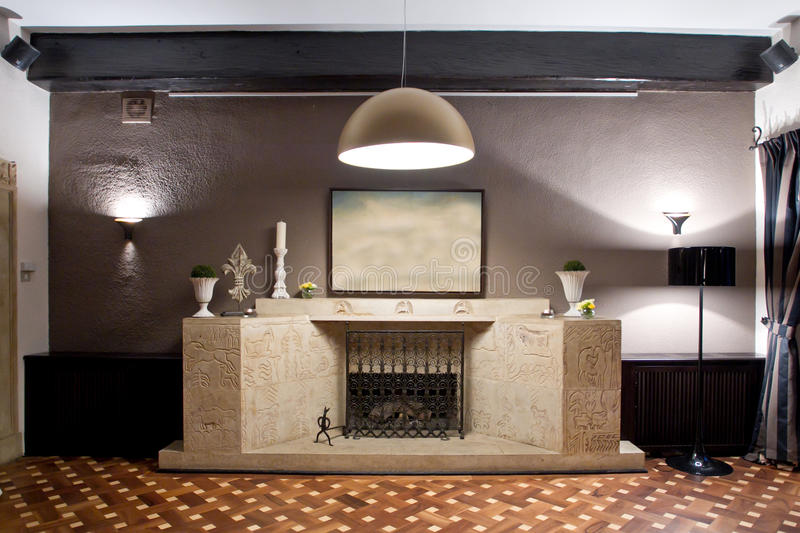 Fireplace in restaurant royalty free stock images