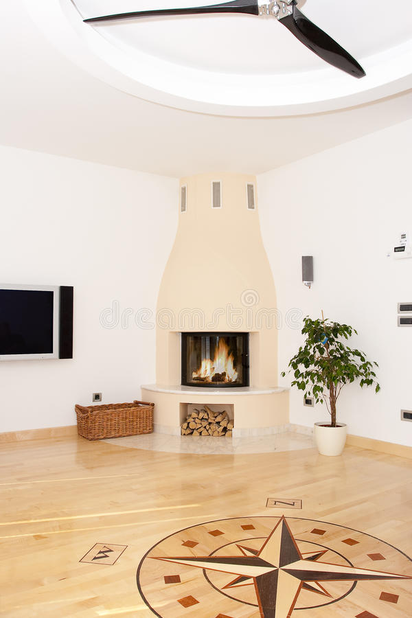 Fireplace in a room stock photography