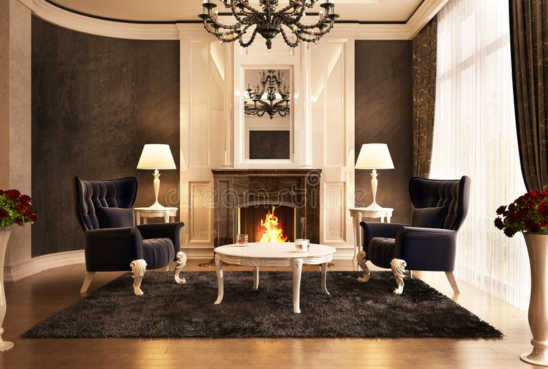 Fireplace room design in big house. Fireplace room design in big beautiful house royalty free stock photos
