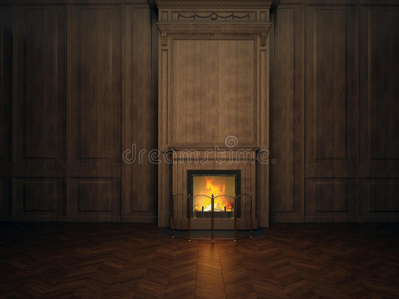 Fireplace in the room vector illustration
