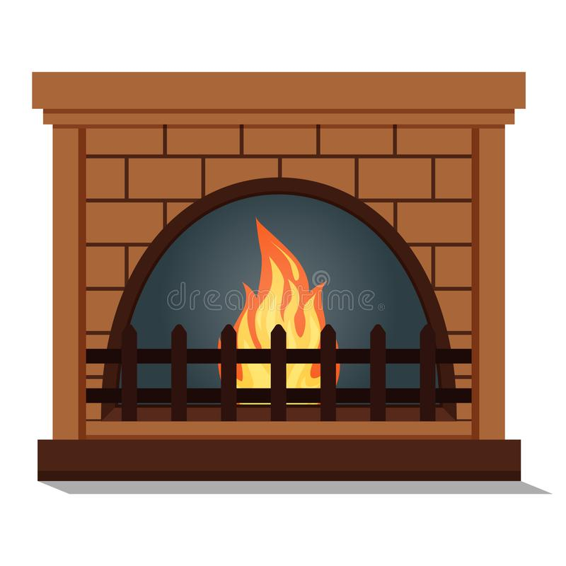 Fireplace with rounded firebox close up icon isolated vector illustration