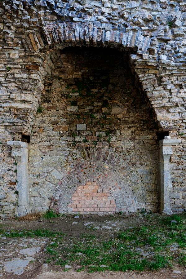 Fireplace ruins medieval castle Franchimont, Theux, Liege, Belgium stock image