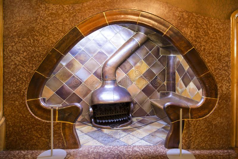 A fireplace in the shape of a mushroom in the Casa batlló, built by project of architect Gaudi between 1904 and 1906. Barcelona. Spain stock images