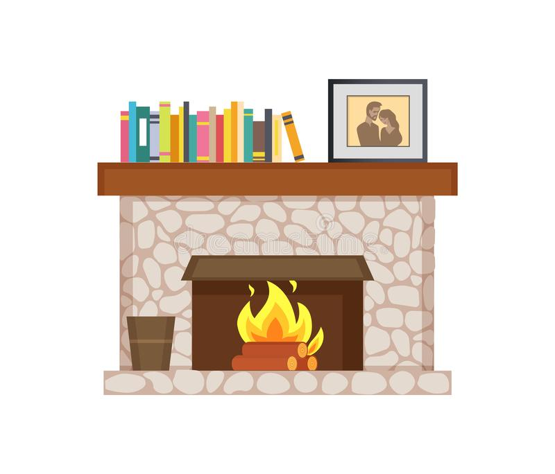 Fireplace with Shelf Books, Framed Photo Interior royalty free illustration
