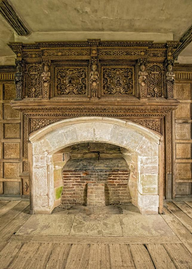 Fireplace, Solar, Stokesay Castle, Shropshire, England. royalty free stock images