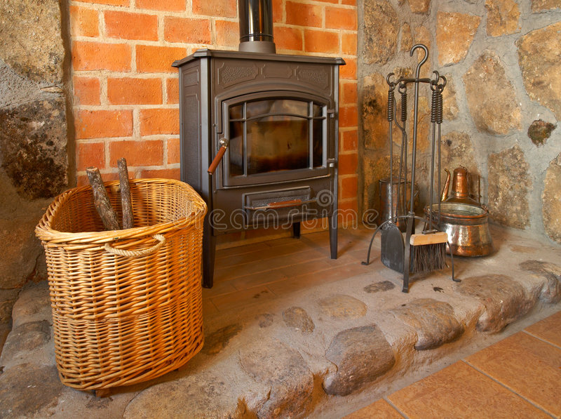Fireplace and tools royalty free stock image