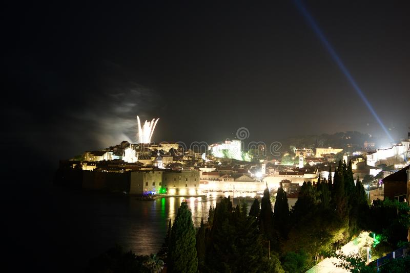 Firerworks over Dubrovnik. The old town and the marina of Dubrovnik under a fireworks royalty free stock photo