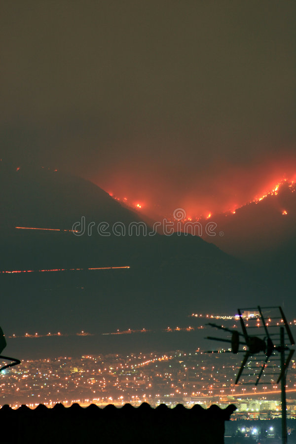 Download Fires above Athens, Greece stock image. Image of arson - 3102517