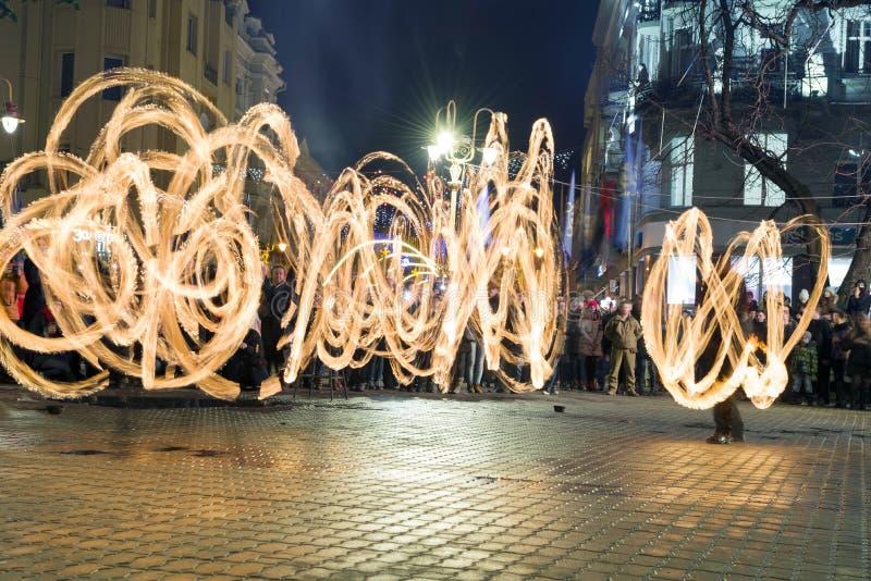 Fireshows voor een verzameling van geheugen stock foto's