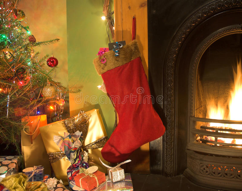 Fireside do Natal imagem de stock