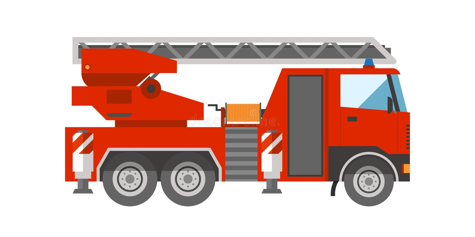 Firetruck emergency vehicle rescue ladder department help transportation vector illustration. royalty free illustration
