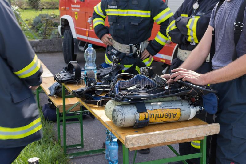 Firetruck equipment, austria, feuerwehr. Water royalty free stock photography