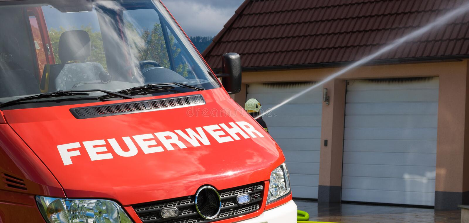 Firetruck equipment, austria, feuerwehr. Water stock image