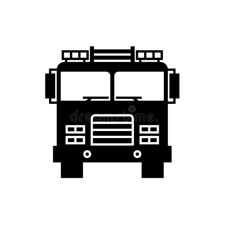 Firetruck Front View Filled Outline Icon Stock Vector ...