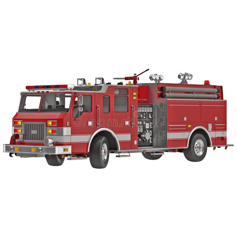 Firetruck na białej 3D ilustraci ilustracji