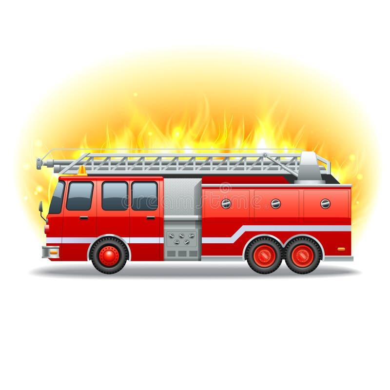 Firetruck w ogieniu royalty ilustracja