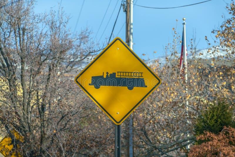Firetruck Warnzeichen herein Salt Lake City Utah lizenzfreie stockbilder