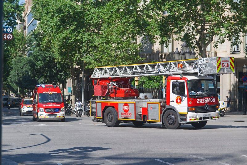 BARCELONA, JUNE 18, 2019: Firetrucks attending a fire emergency in Barcelona stock photo