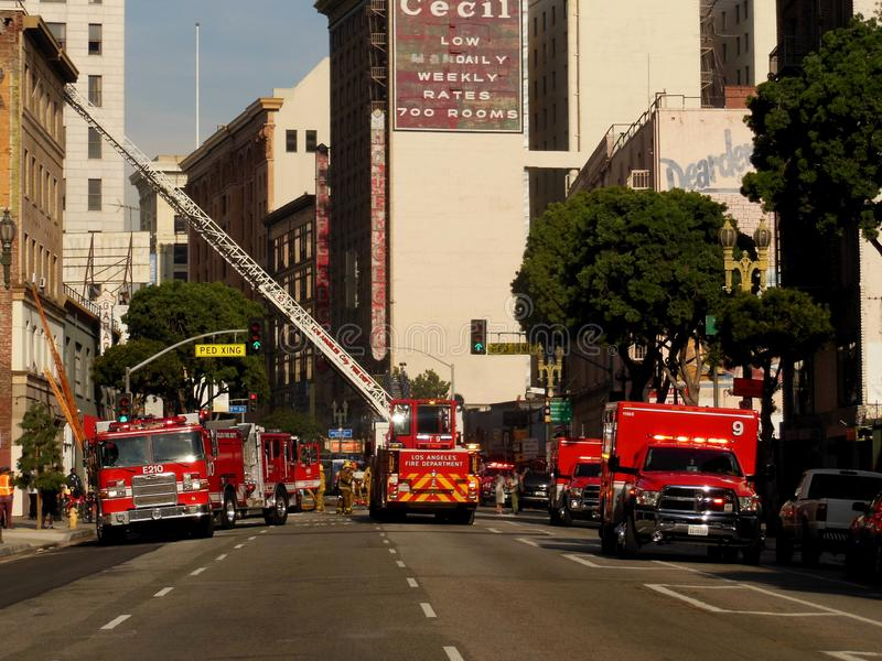 Firetrucks Working in Downtown Los Angeles California royalty free stock image