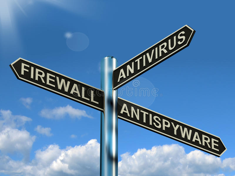 Firewall Antivirus Antispyware Signpost Showing Internet And Com stock illustration