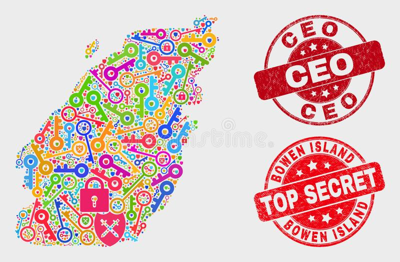 Composition of Passkey Bowen Island Map and Grunge Ceo Watermark. Firewall Bowen Island map and watermarks. Red rounded Top Secret and Ceo distress watermarks royalty free illustration