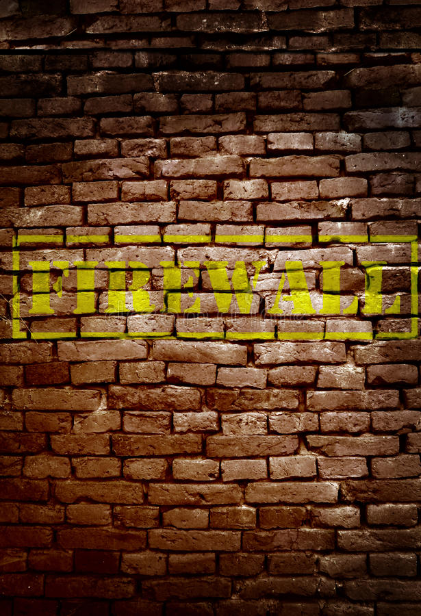 Firewall. Brick wall with Firewall text - cyber security concept royalty free stock photography