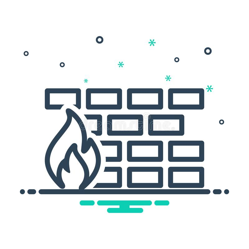 Black mix icon for fire, security and network vector illustration