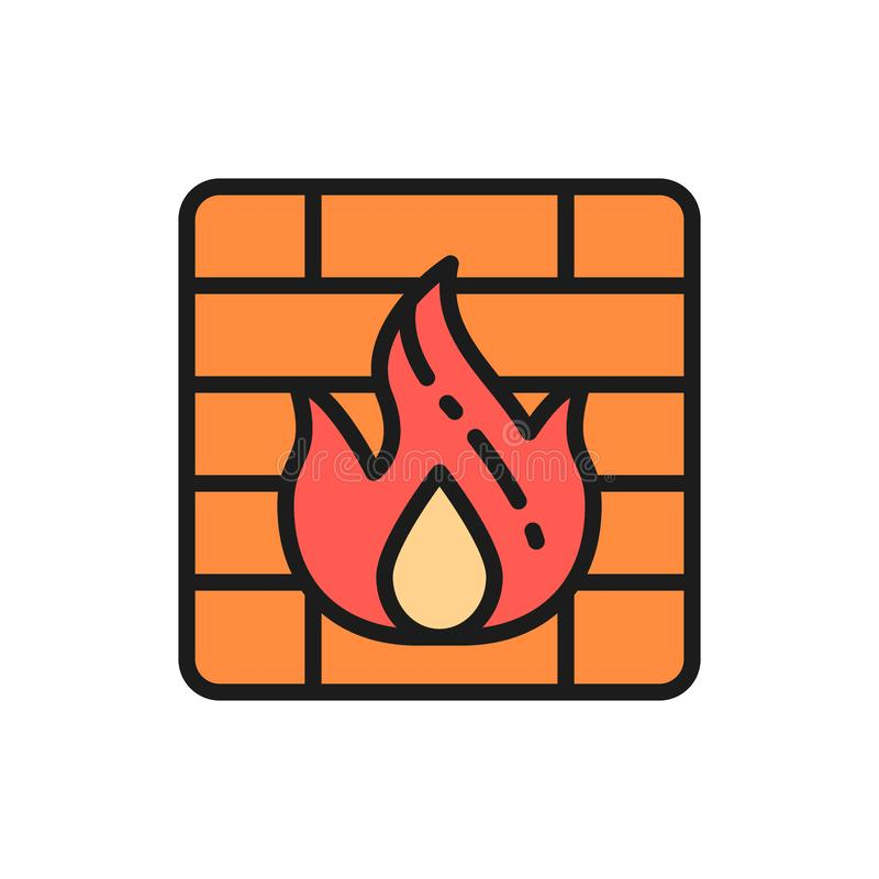 Firewall flat color line icon. Isolated on white background. Vector firewall flat color line icon. Symbol and sign illustration design. Isolated on white vector illustration