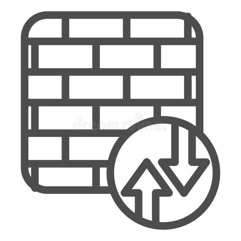 Firewall line icon. Network protection vector illustration isolated on white. Internet safety outline style design vector illustration