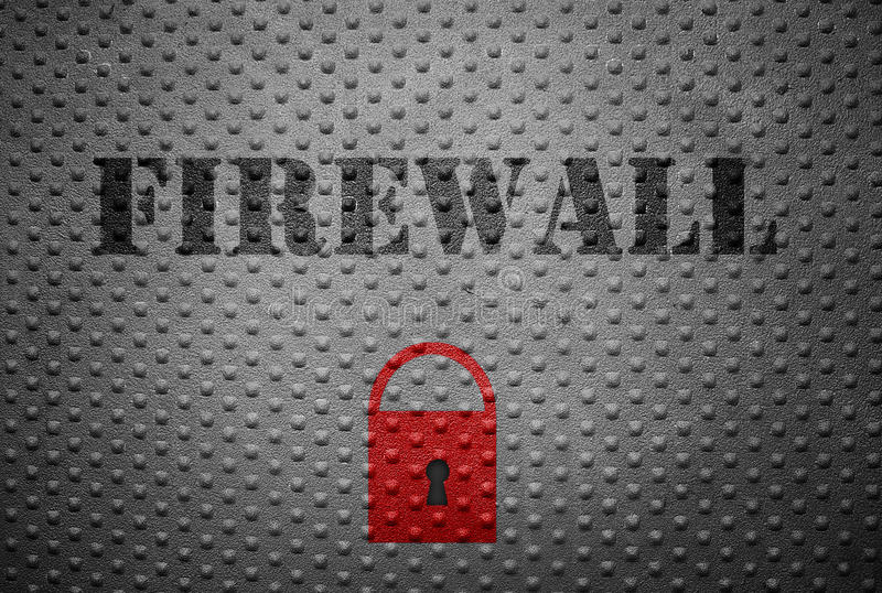 Firewall and lock. Metal with Firewall text and red lock -- internet security concept stock images