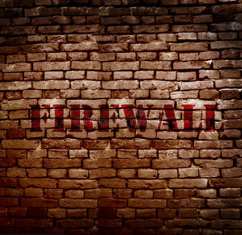 Firewall protection. Firewall text on a brick wall -- Internet security concept stock photography