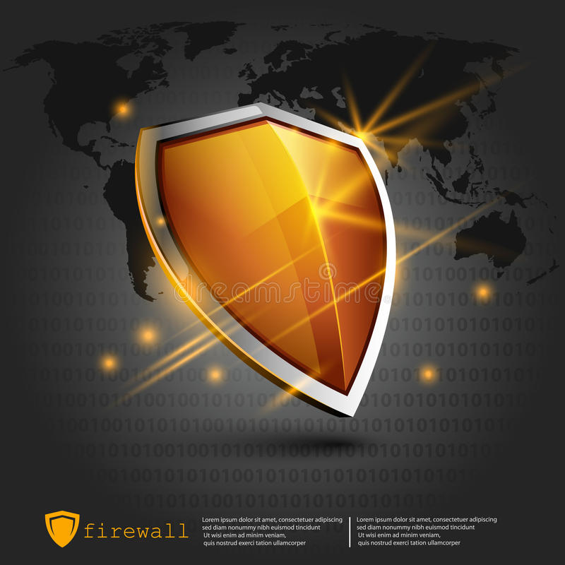 Firewall shield background. internet security. shield on the background of the map. Represents a danger royalty free illustration